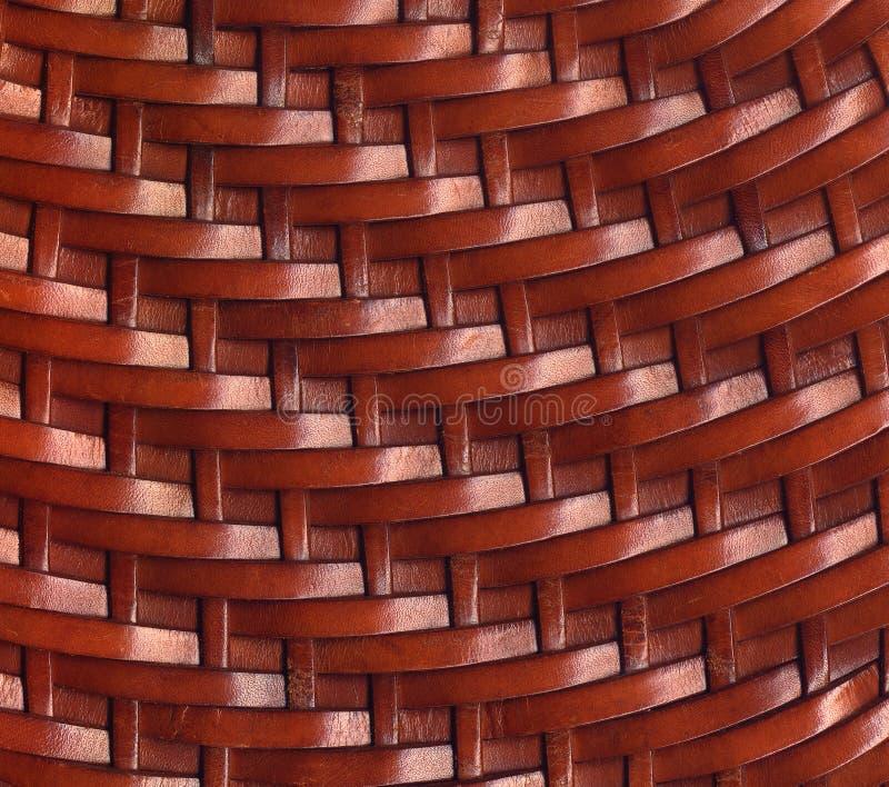 Fond de texture tissé par cuir de Brown photos stock