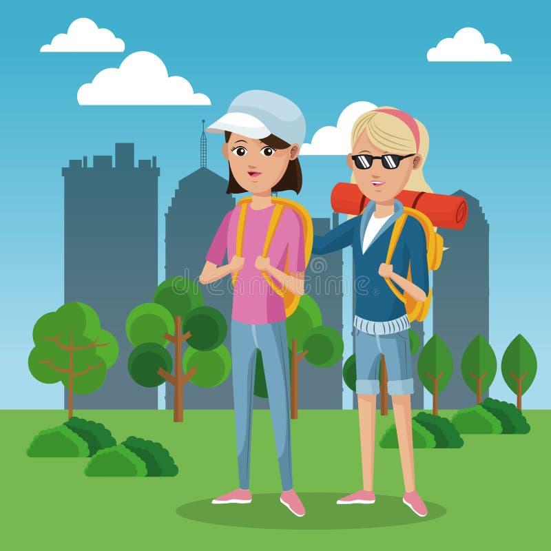Fond de touristes de ville de champ de vert de chapeau de sac à dos à deux frinds de fille illustration de vecteur