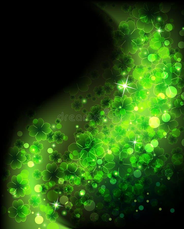 Fond de trèfle de lame de la magie quatre photo stock