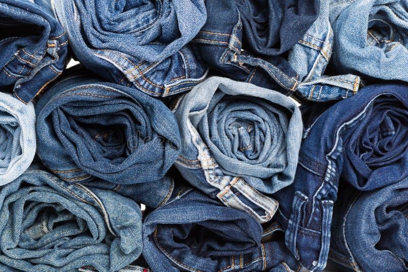 Fond de treillis bleu Texture bleue de jeans de denim image stock