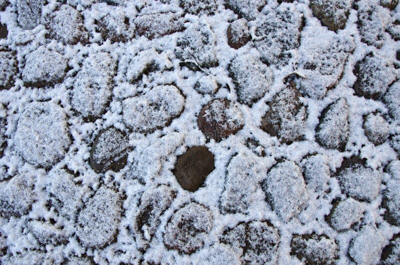 Fond de trottoir de pavé rond d'horaire d'hiver photo libre de droits