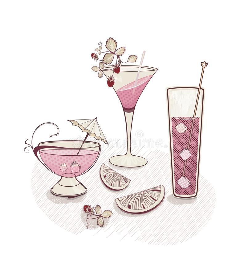 fond de vacances avec des glaces de cocktail illustration de vecteur