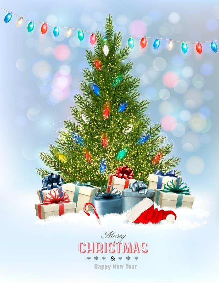 Fond de vacances avec un arbre et des présents de Noël illustration libre de droits