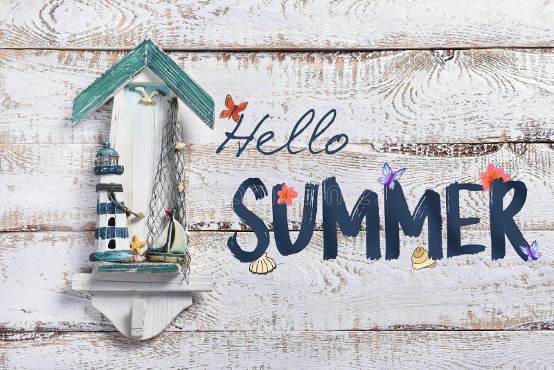 Fond de vacances d'été avec l'été des textes bonjour photo stock