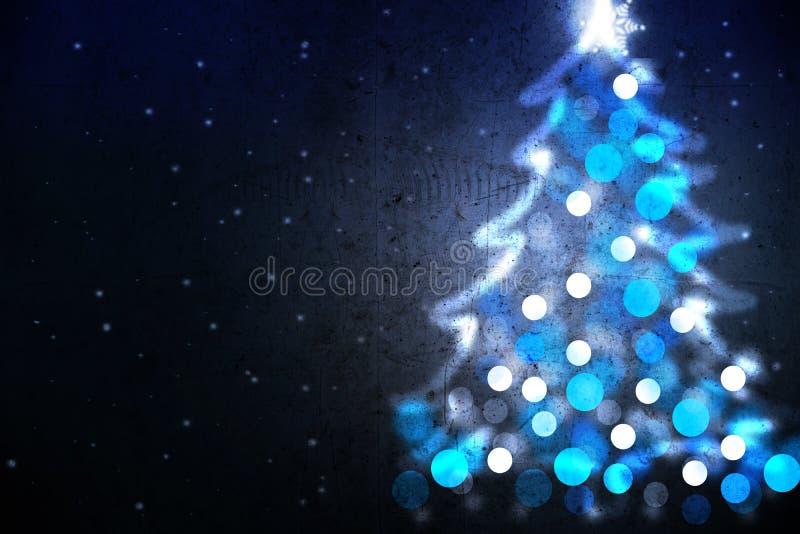 Fond de vacances d'hiver avec la forme bleue d'arbre de Noël des lumières image stock