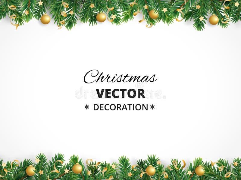 Fond de vacances d'hiver Cadre avec des branchements d'arbre de Noël Guirlande, cadre avec les babioles accrochantes, flammes illustration de vecteur