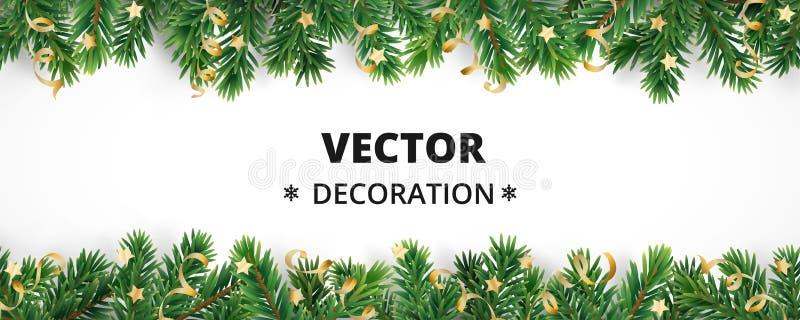 Fond de vacances d'hiver Frontière avec des branches et des ornements d'arbre de Noël illustration libre de droits