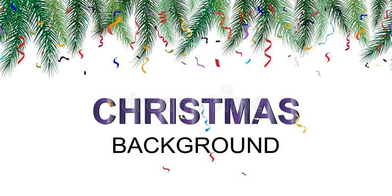 Fond de vacances d'hiver Frontière avec des branches et des ornements d'arbre de Noël Fond sans joint d'an neuf D'isolement sur u illustration libre de droits