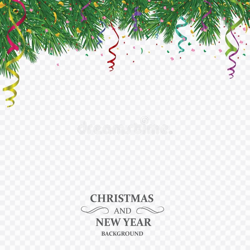 Fond de vacances d'hiver Frontière avec la branche d'arbre de Noël d'isolement sur le fond transparent Il est employé pendant la  illustration de vecteur