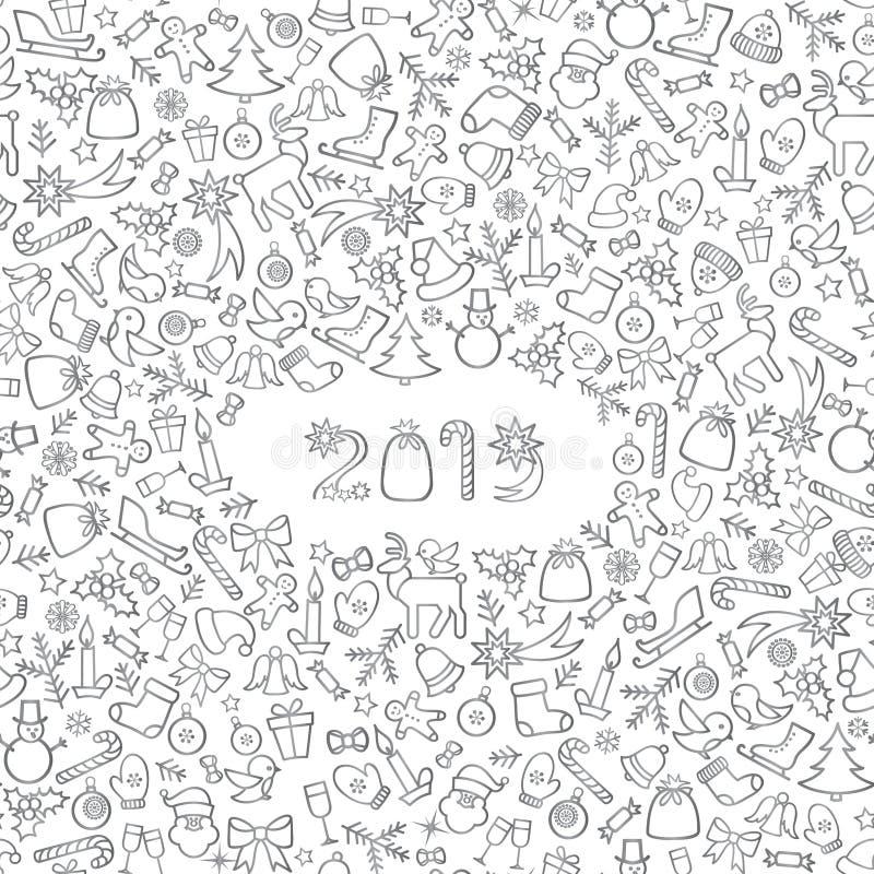 Fond de vacances d'icône de Noël Nouvelle carte de voeux heureuse de 2019 ans illustration de vecteur