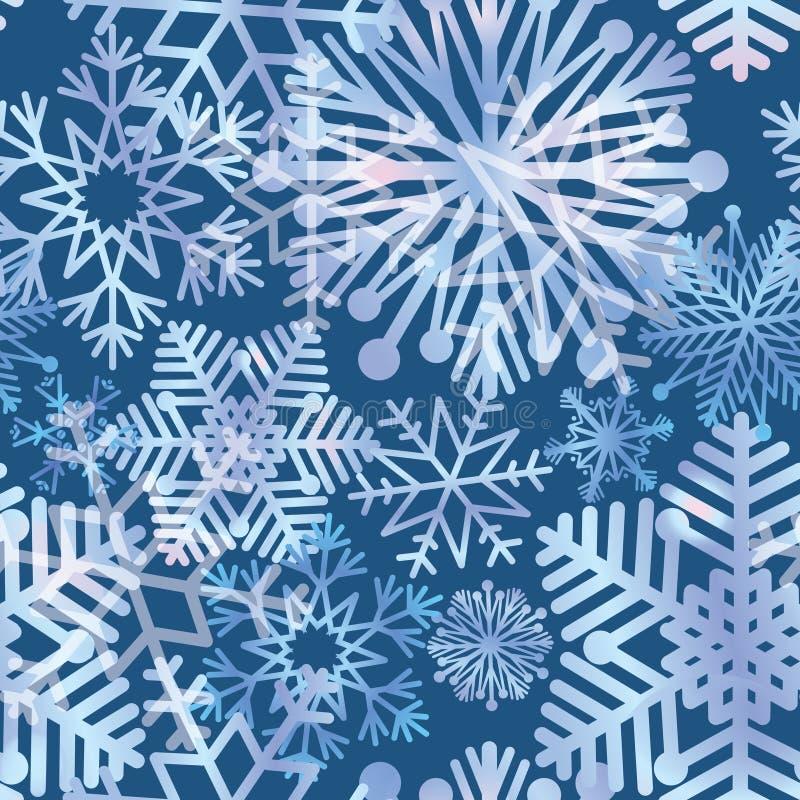 Fond de vacances de neige Texture de flocons de neige Configuration bleue de Noël illustration libre de droits