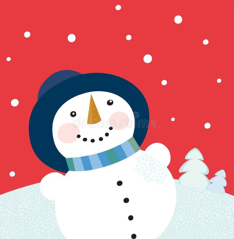 Fond de vacances de Noël avec le bonhomme de neige illustration de vecteur