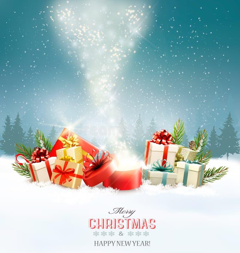 Fond de vacances de Noël avec les présents et la boîte magique illustration stock