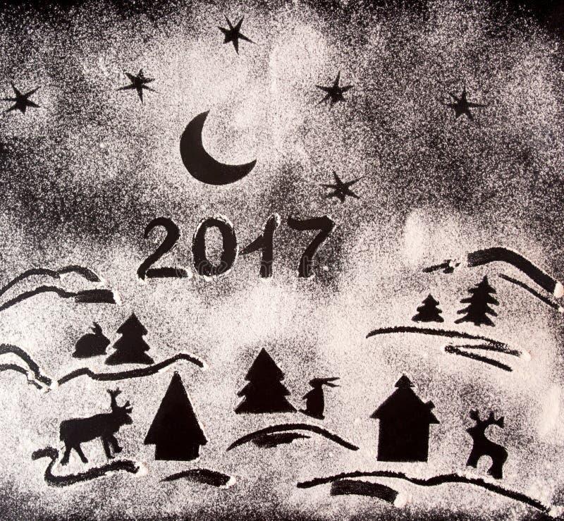 Fond de vacances de nouvelle année avec des dessins avec de la farine et le texte 20 images libres de droits