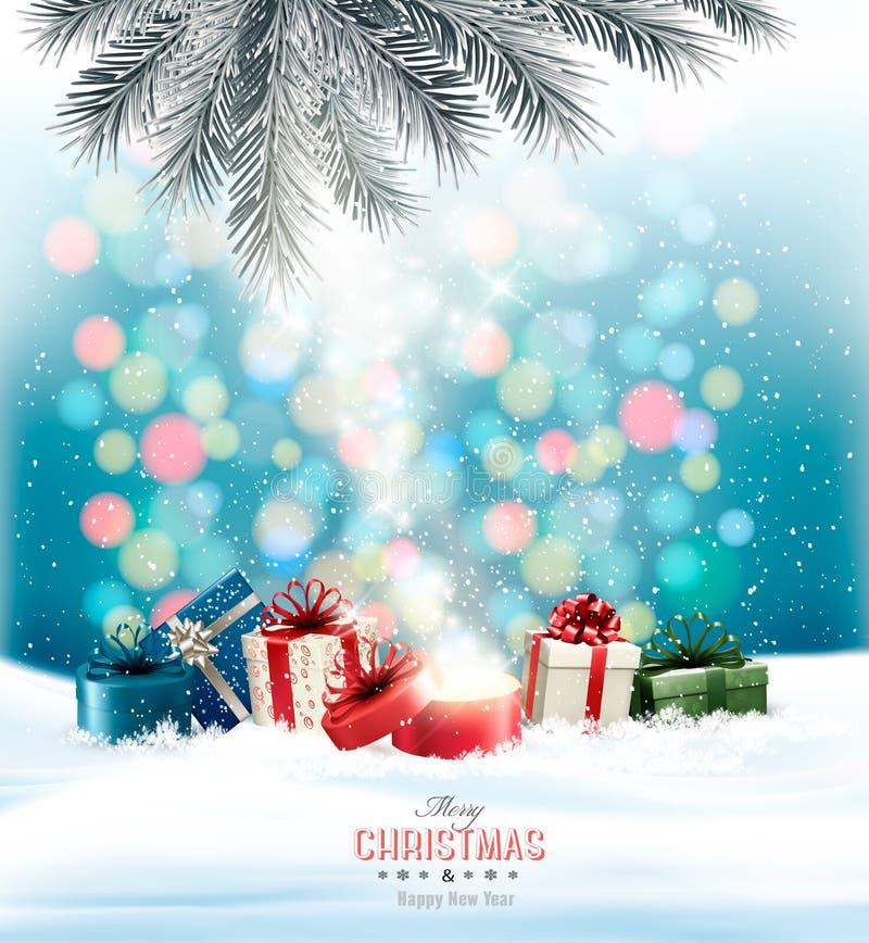 Fond de vacances de Noël avec les présents colorés illustration de vecteur