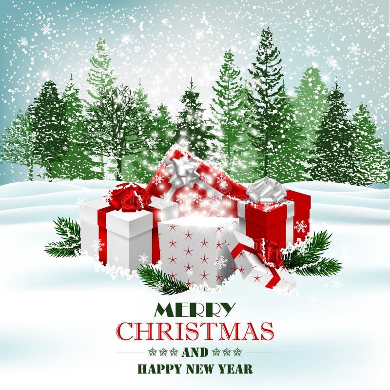 Fond de vacances de Noël avec les présents et le boîte-cadeau magique Vecteur illustration stock