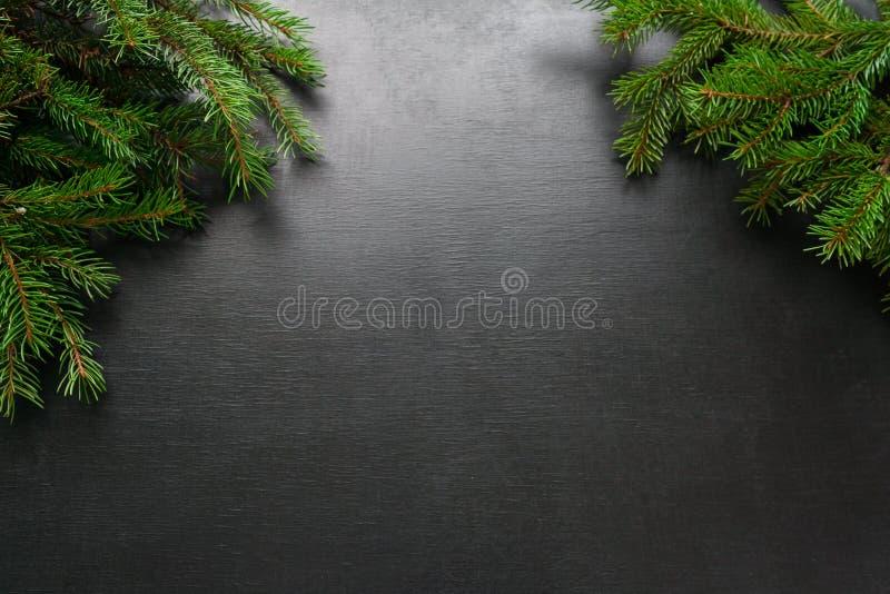 Fond de vacances de Noël et de bonne année avec le sapin naturel sur son trente et un, sur le fond noir, concept de carte de voeu photographie stock