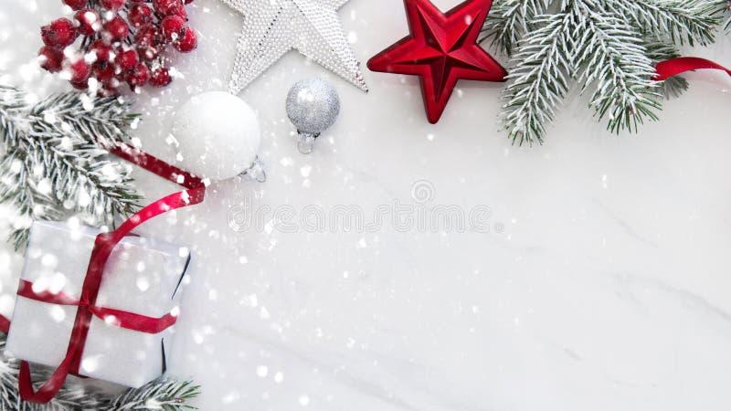 Fond de vacances de Noël et de nouvelle année Carte de voeux de Noël Vacances d'hiver images libres de droits