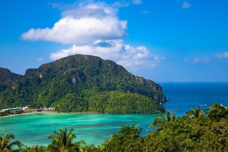Fond de vacances de voyage Belle île tropicale Phi-Phi Don photographie stock