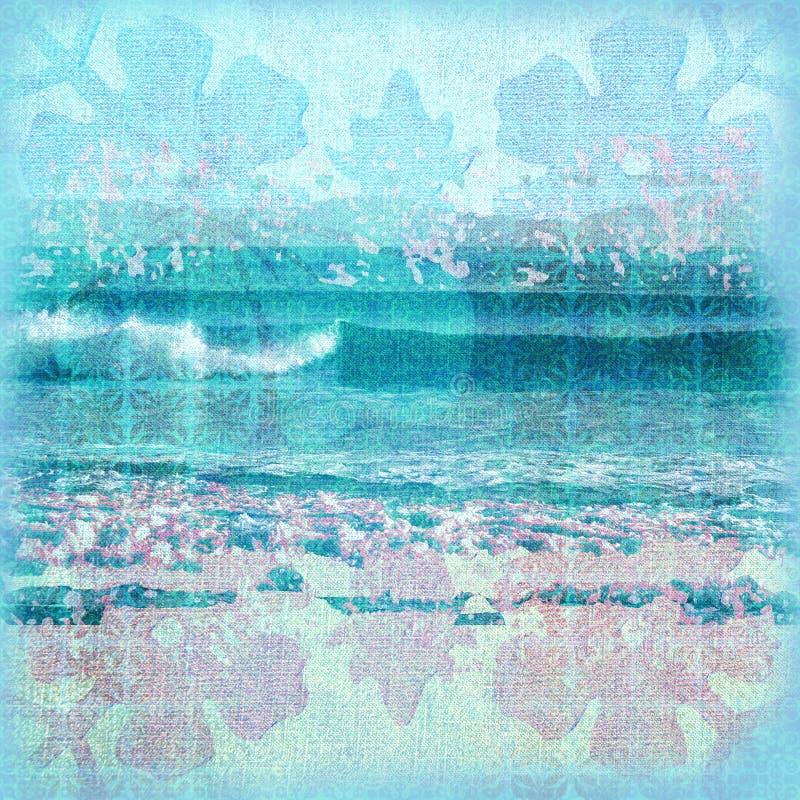 Fond de vague déferlante de batik illustration de vecteur