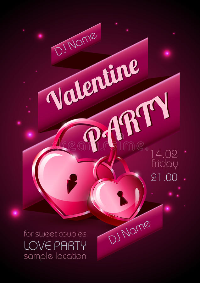 Fond de Valentine. Affiche de disco illustration stock