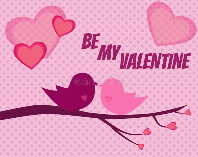 Fond de Valentine avec deux oiseaux dans l'amour avec les coeurs roses illustration de vecteur
