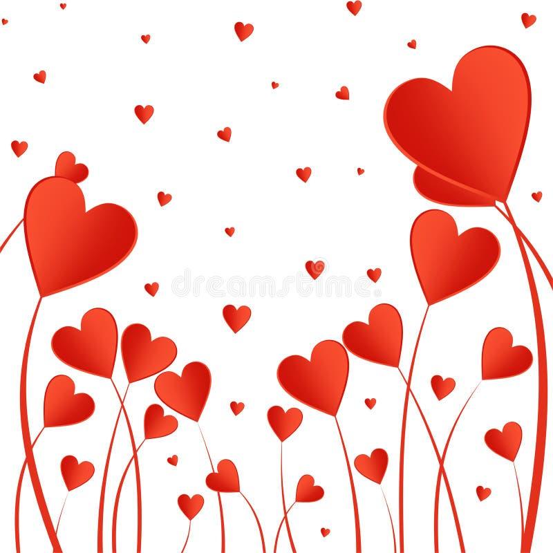 Fond de Valentine avec les coeurs rouges sur une tige sur un fond blanc Salutation pour des amants et pour le jour du ` s de mère illustration libre de droits