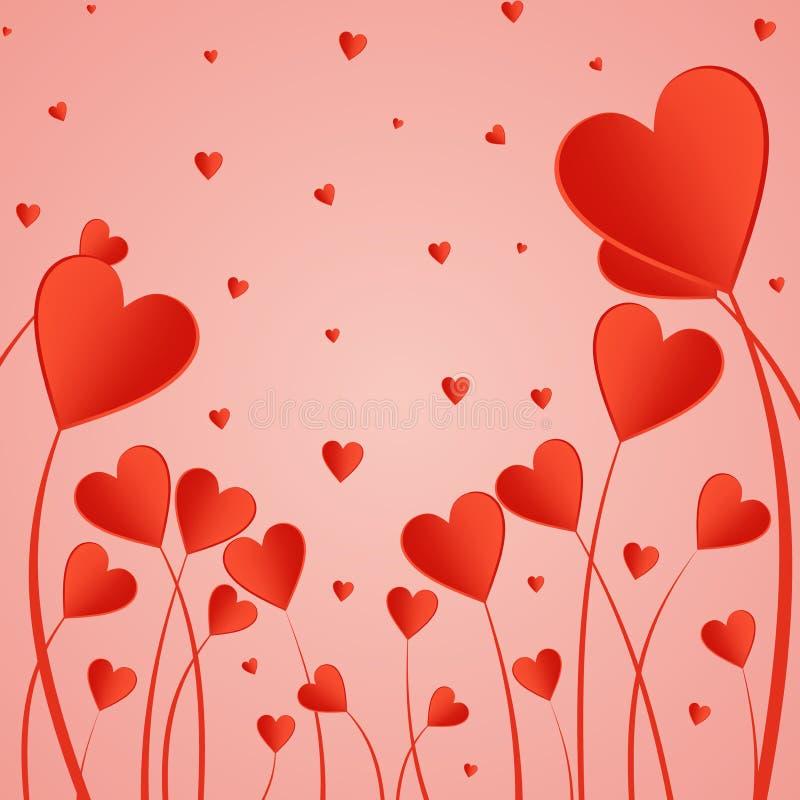 Fond de Valentine avec les coeurs rouges sur une tige sur un fond rose Salutation pour des amants et pour le jour du ` s de mère illustration stock