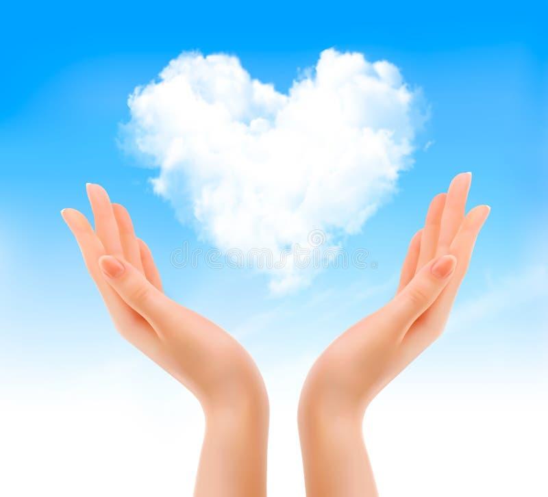Fond de valentine de vacances avec des mains tenant des clo en forme de coeur illustration stock