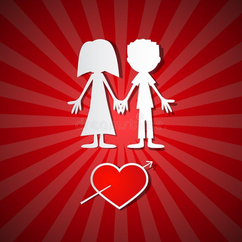Fond de Valentine Paper Red illustration de vecteur