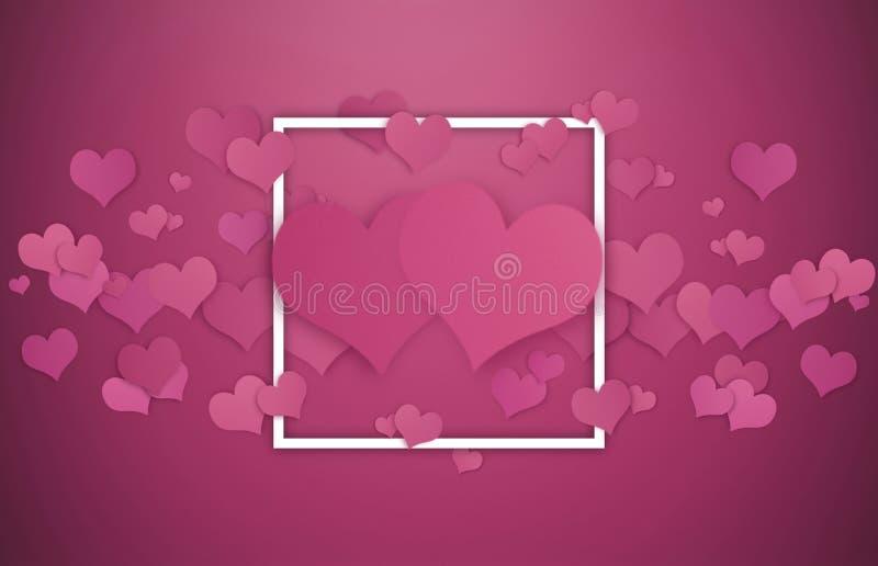 Fond de Valentines Cadre blanc avec des coeurs, carte de jour de valentines illustration libre de droits