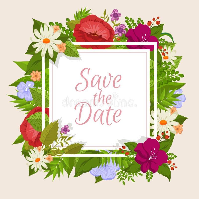 Fond de vecteur avec des fleurs de bande dessinée Conception florale pour la carte de mariage romantique illustration de vecteur