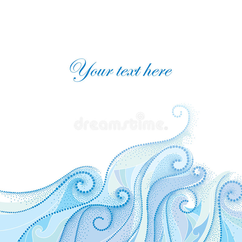 Fond de vecteur avec des remous pointillés et des lignes bouclées bleues d'isolement sur le blanc Le thème maritime avec des vagu illustration libre de droits