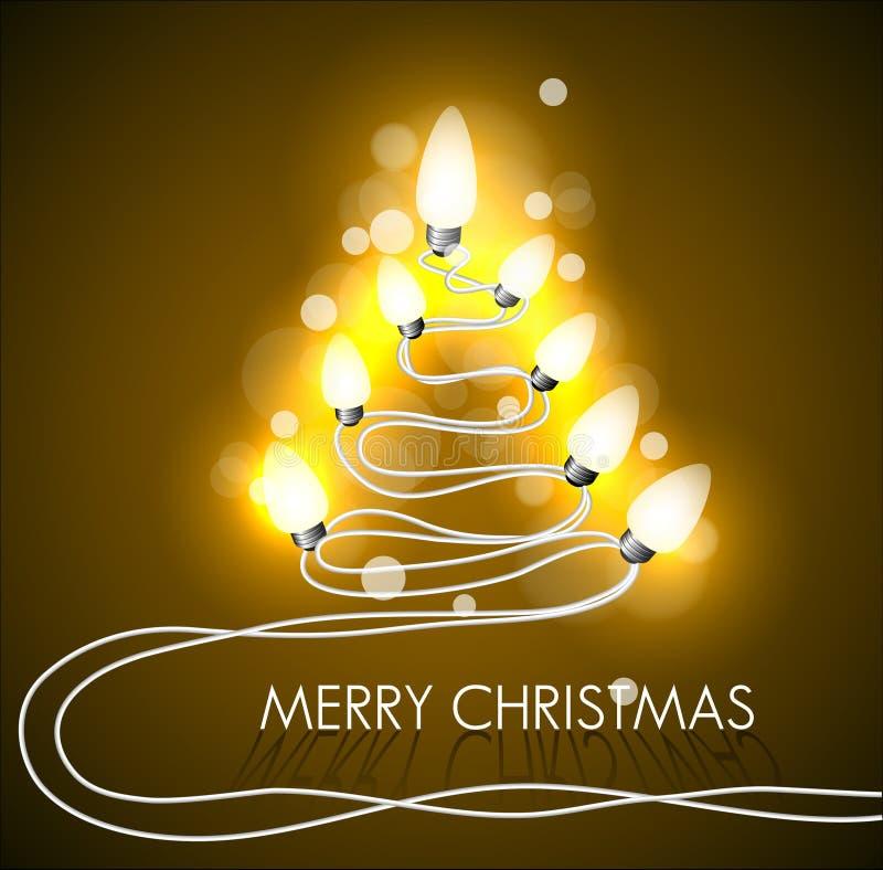 Fond de vecteur avec l'arbre et les lumières de Noël illustration de vecteur