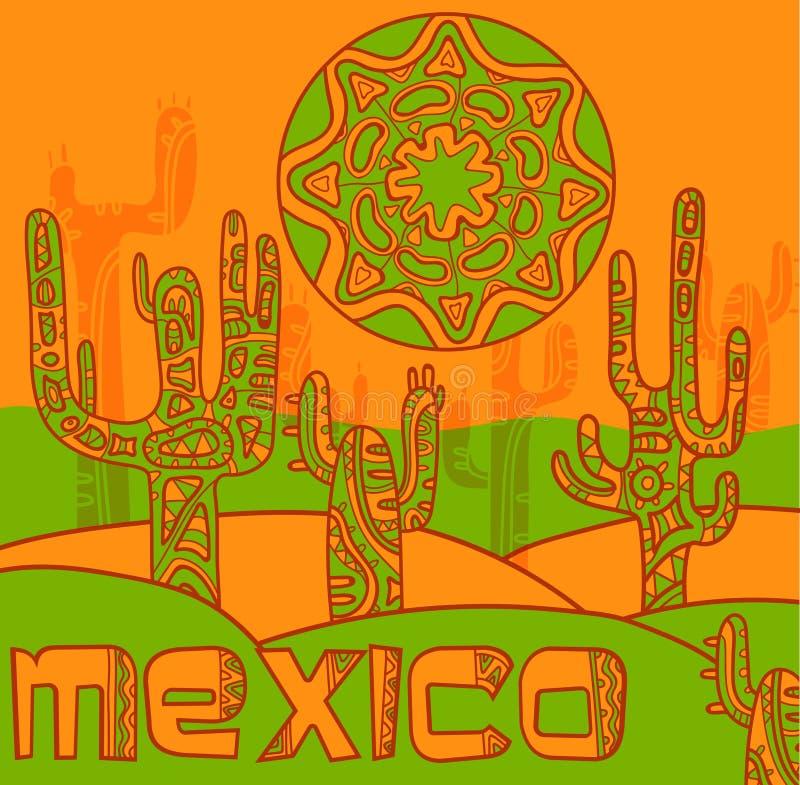 Fond de vecteur avec l'ornement mexicain traditionnel illustration libre de droits