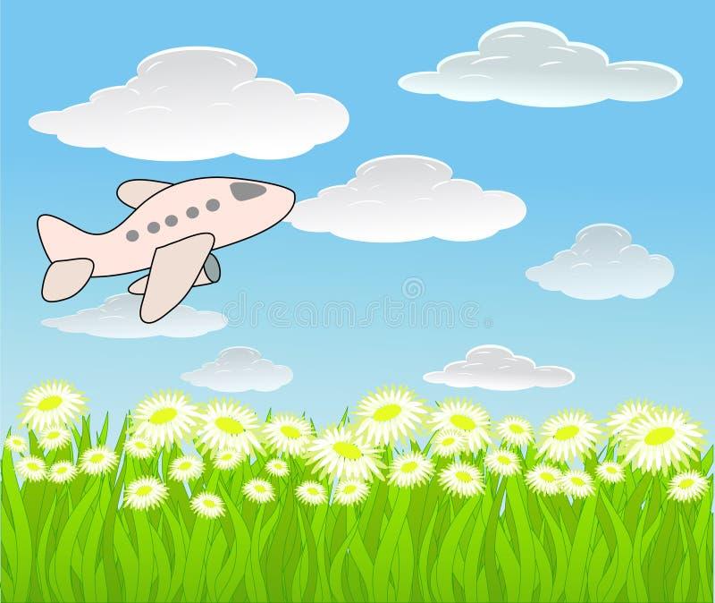 Fond de vecteur avec le ciel et l'avion illustration libre de droits