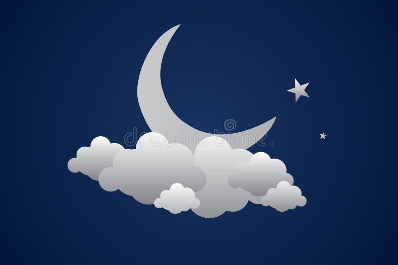 Fond de vecteur avec le ciel de soirée Lune et étoiles dans les nuages illustration libre de droits