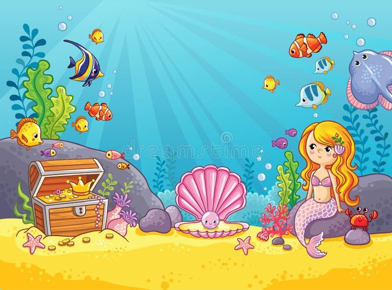 Fond de vecteur avec un monde sous-marin illustration stock