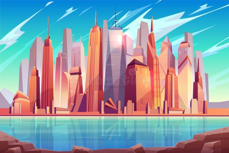 Fond de vecteur de bande dessinée d'horizon de New York City illustration stock
