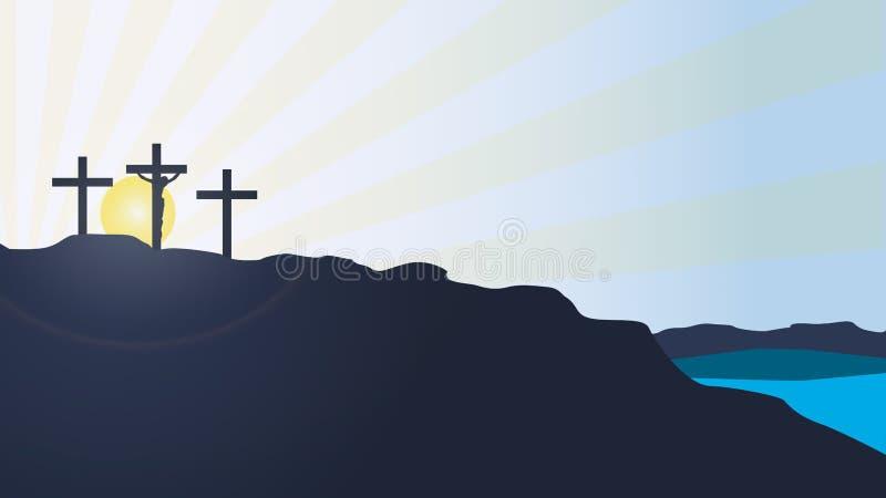 Fond de vecteur de coucher du soleil de montagne de calvaire avec la silhouette du Christ illustration libre de droits