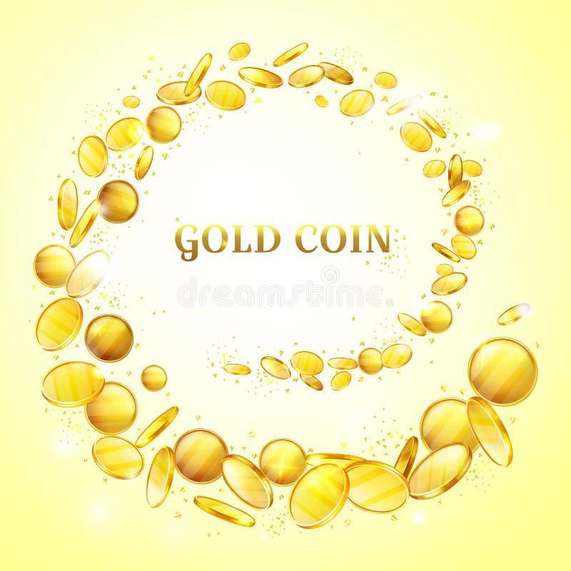 Fond de vecteur d'éclaboussure d'argent de pièces d'or illustration de vecteur