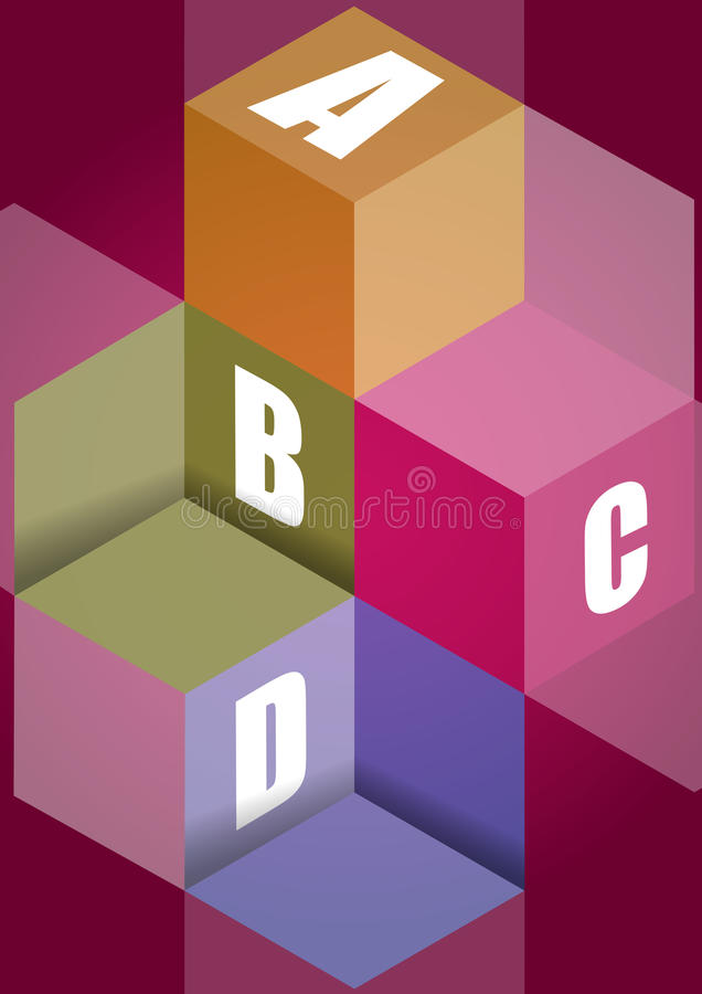 Fond de vecteur d'étapes de cube en ABCD illustration stock