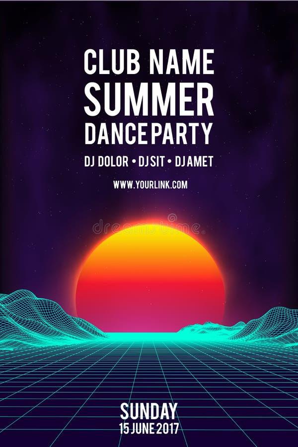 Fond de vecteur d'affiche de soirée dansante de nuit rétro insecte d'événement de musique du style 80s rétro fond 80s illustration libre de droits
