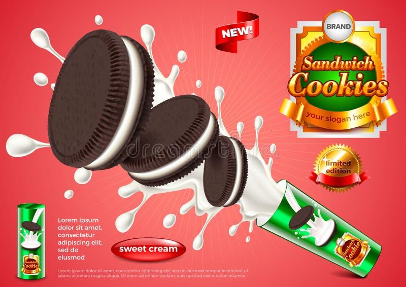 Fond de vecteur d'annonces de biscuits de sandwich illustration stock