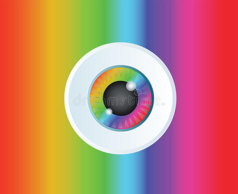 Fond de vecteur d'art d'icône d'arc-en-ciel de globe oculaire illustration stock