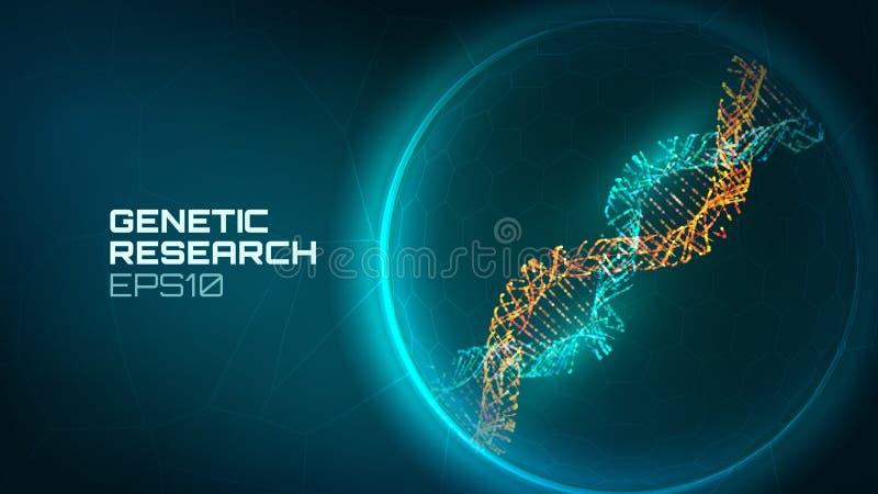 Fond de vecteur d'hélice d'ADN Processus génétique de reseacrch Gène modifié Fond de technologie d'ADN de biologie de la Science illustration de vecteur