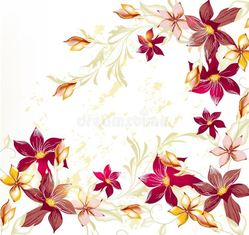 Fond de vecteur de fleur dans le type en pastel de cru illustration stock
