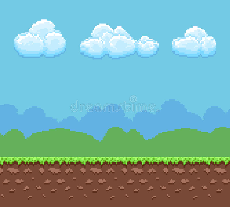 Fond de vecteur de jeu du pixel 8bit avec le panorama de ciel moulu et nuageux illustration libre de droits