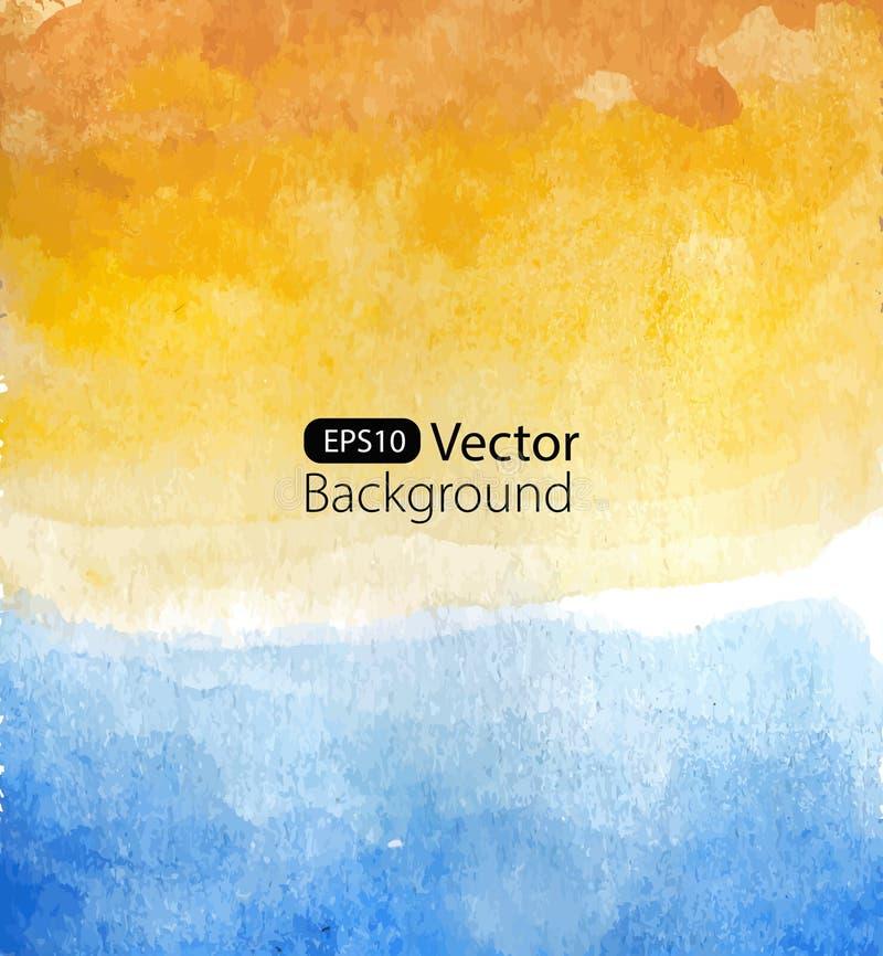 Fond de vecteur de paysage marin d'aquarelle illustration libre de droits