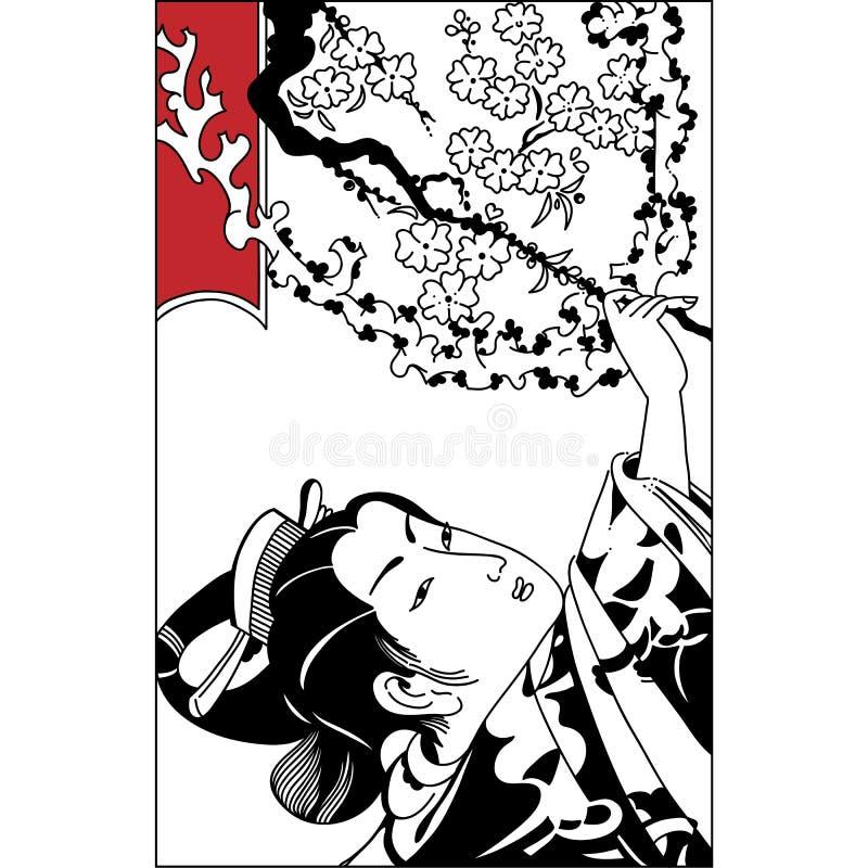Fond de vecteur de printemps avec le beau geisha japonais a illustration de vecteur